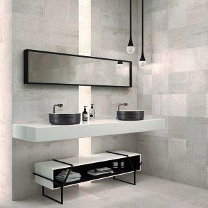Modern vanity with bathroom wall tiles
