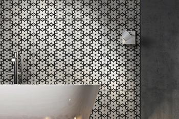 Wallflowers (Pepper) on Thassos Bathroom